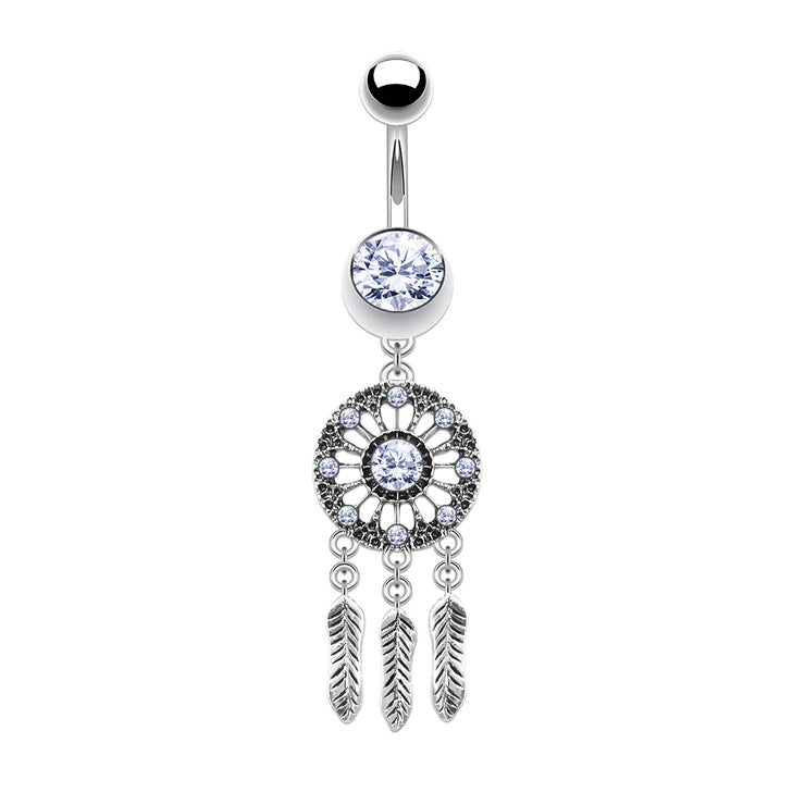 crystal belly bars silver belly bar dream catcher belly button piercings