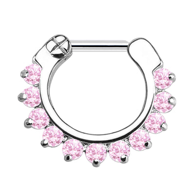 pink septum clicker pink cartilage piercing pink jewel daith ring pink crystal helix hoop