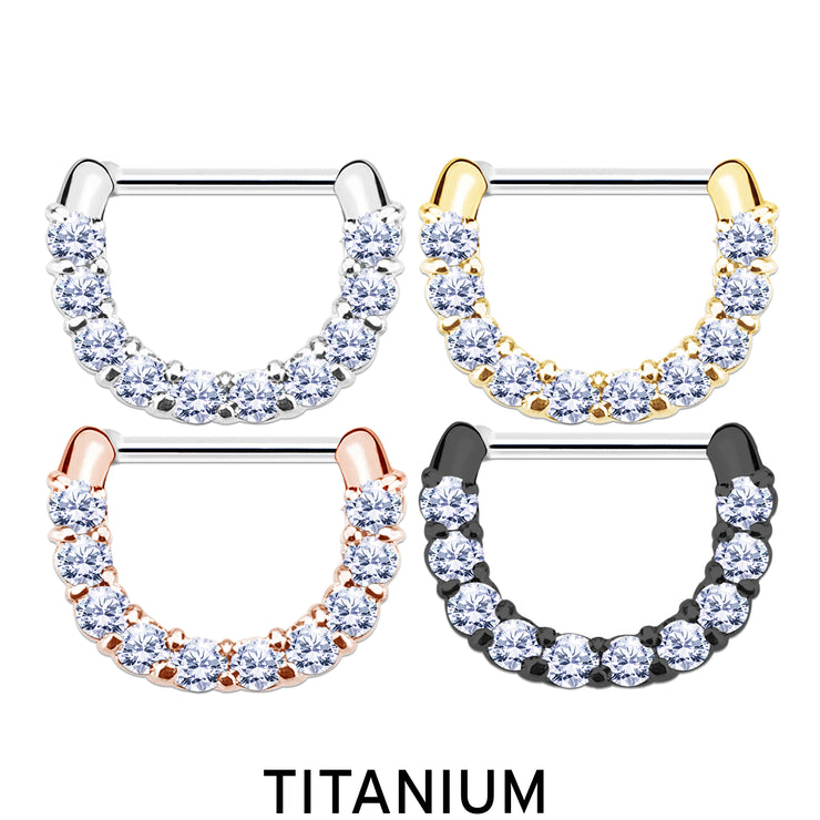 titanium cartilage ring crystal helix hoop silver earrings