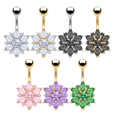 silver belly bars gold belly bars cluster navel ring flower belly button jewellery