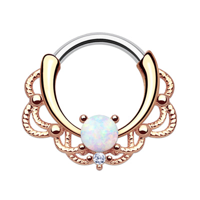 rose gold crystal septum clicker rose gold opal daith hoop opal cartilage piercings