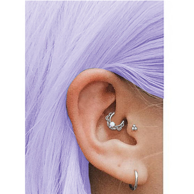 opal cartilage jewellery titanium helix piercing opal daith rings