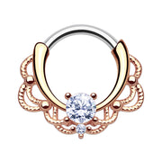 rose gold cartilage piercing rose gold helix ring rose gold crystal septum clickers
