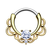gold septum ring clear crystal daith hoop gold titanium cartilage piercings