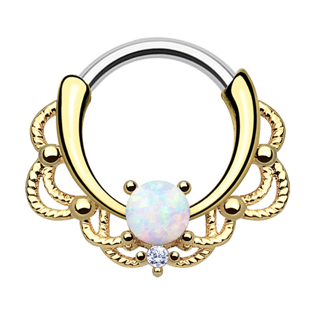 gold septum ring opal daith piercings opal cartilage jewellery