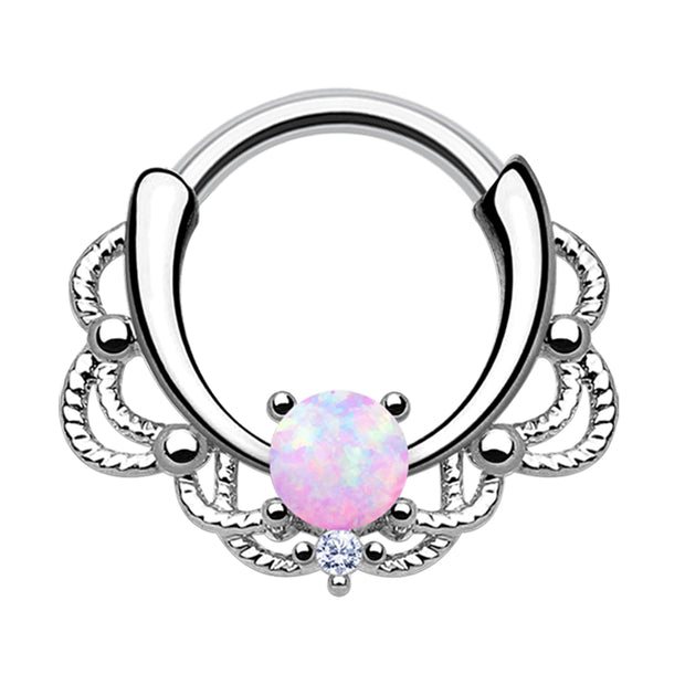 opal daith ring crystal cartilage jewellery pink helix hoop