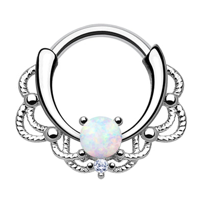 white opal cartilage piercings opal septum hoop crystal daith hoops