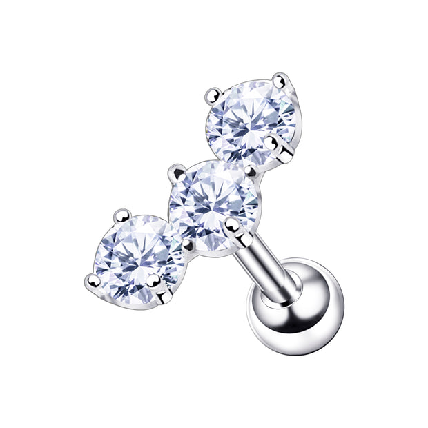 triple jewel cartilage stud crystal cartilage studs silver helix barbell silver conch bars