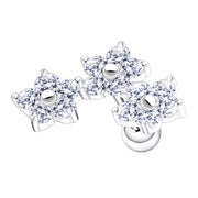 flower earrings crystal flower cartilage studs large conch jewellery