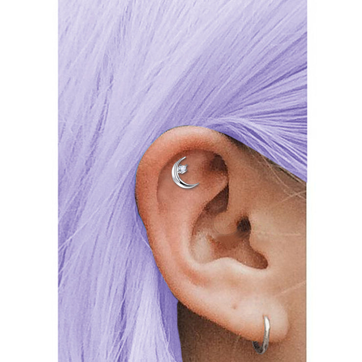 moon cartilage jewellery silver conch piercing silver tragus stud