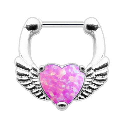 heart septum piercings heart cartilage jewellery opal heart helix ring