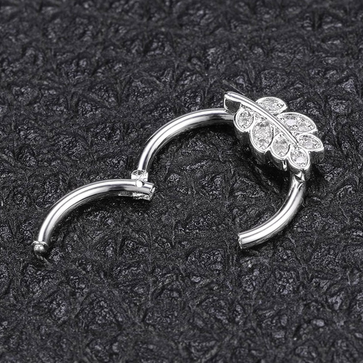 crystal septum ring leave cartialge jewewllery silver helix hoop