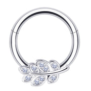 small daith ring silver tragus hoop crystal smiley piercings