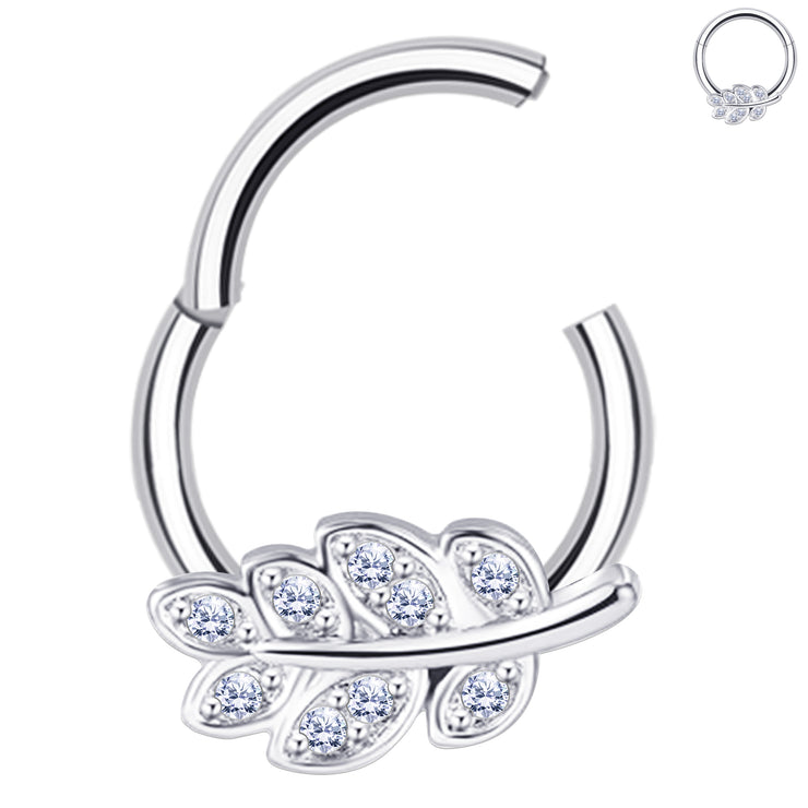 silver cartilage jewelry pretty helix rings leaf septum ring
