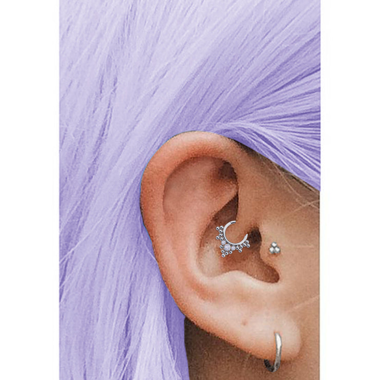 Crystal Helix Ring Silver Septum Piercing
