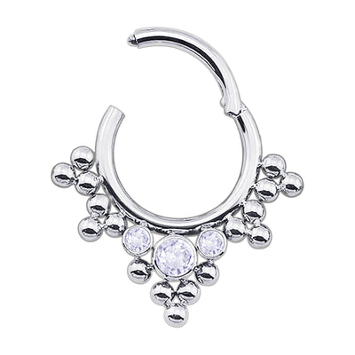 silver daith piercings ball septum ring crystal helix hoop
