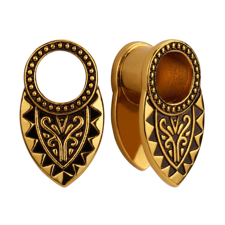 gold ear tunnels boho ear plug vintage ear weight