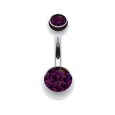 purple belly bars purple navel piercing simple belly barbell