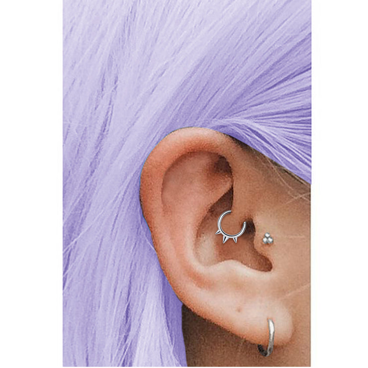 spiked earrings spiked daith jewellery silver cartilage piercings