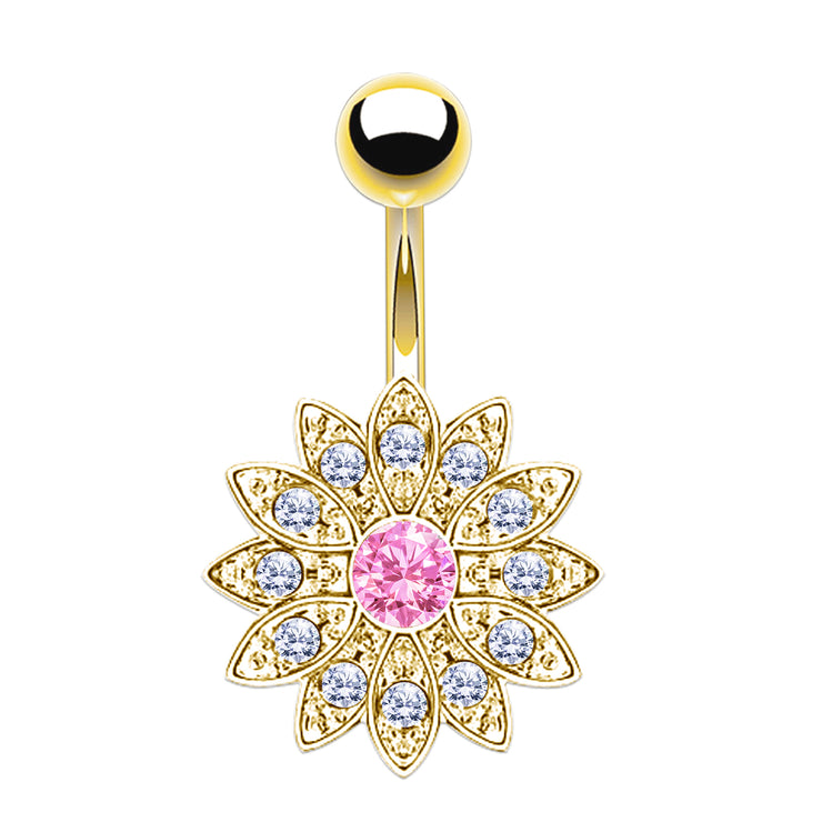 gold belly bars crystal navel ring