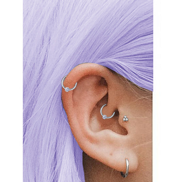 silver cartilage piercings jewelled helix ring crystal daith piercing