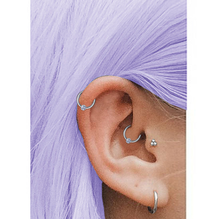 silver cartilage rings silver titanium helix jewellery titanium daith piercing