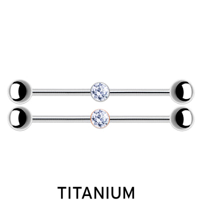SIMPLY CHIC | Titanium Crystal Industral Barbells