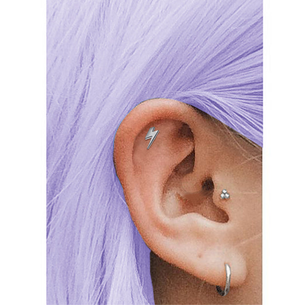 titanium conch piercing silver cartilage bar