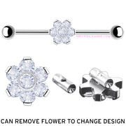 Trixie | Titanium Flower Crystal Industrial Barbell
