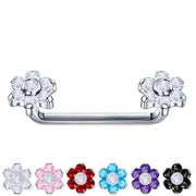 purple staple bar flower surface barbell