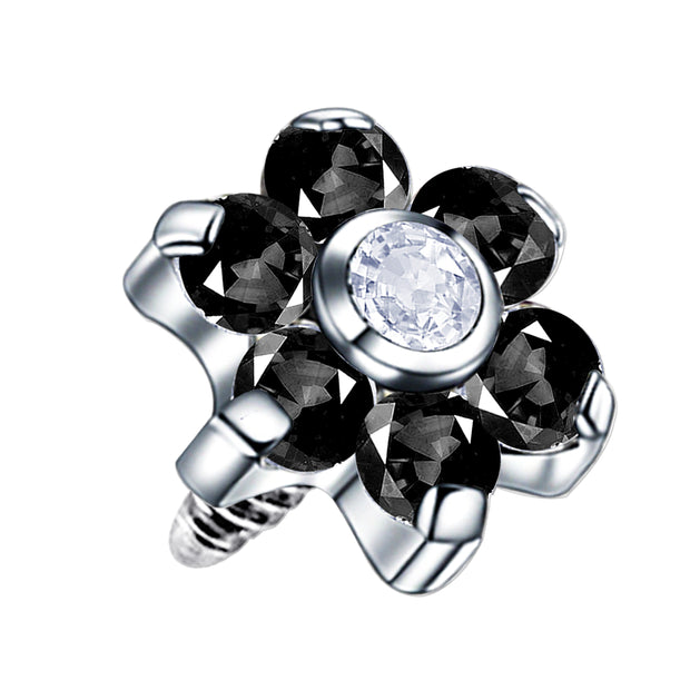 black dermal piercing black body jewellery flower dermal piercings