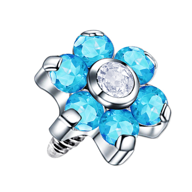 crystal dermal piercing flower dermal jewellery blue face piercings