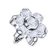 clear dermal piercing crystal dermal jewellery flower labret tops