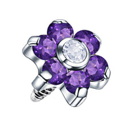 purple dermal jewellery flower dermal piercings