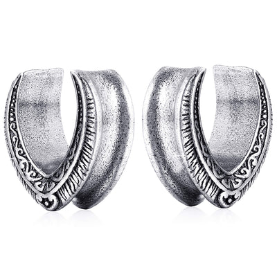 TOKE | Silver Tribal Ear Saddle Tunnels
