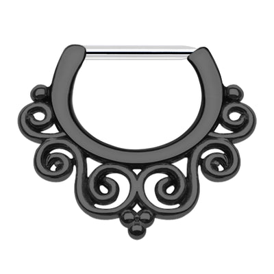 black cartilage jewellery Black helix ring Black Daith Jewellery