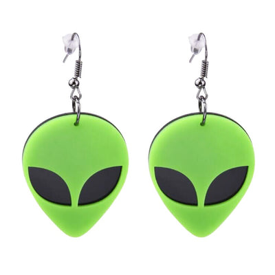 alien earrings green novelty earring