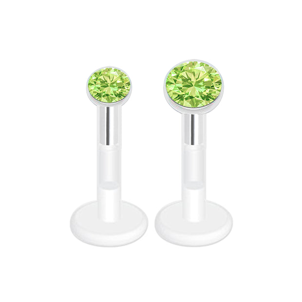 Green labret bar plastic labret piercing crystal cartilage bar bioflex cartilage jewellery bioplast lip studs jewelled ear jewellery