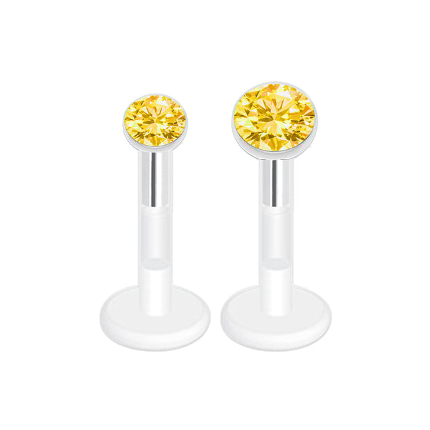 yellow piercing yellow gem labret studs gem piercings plastic gem labret bioplast cartilage jewellery