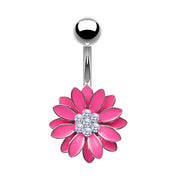flower belly bars pink navel bar flower belly button piercing silver navel rings