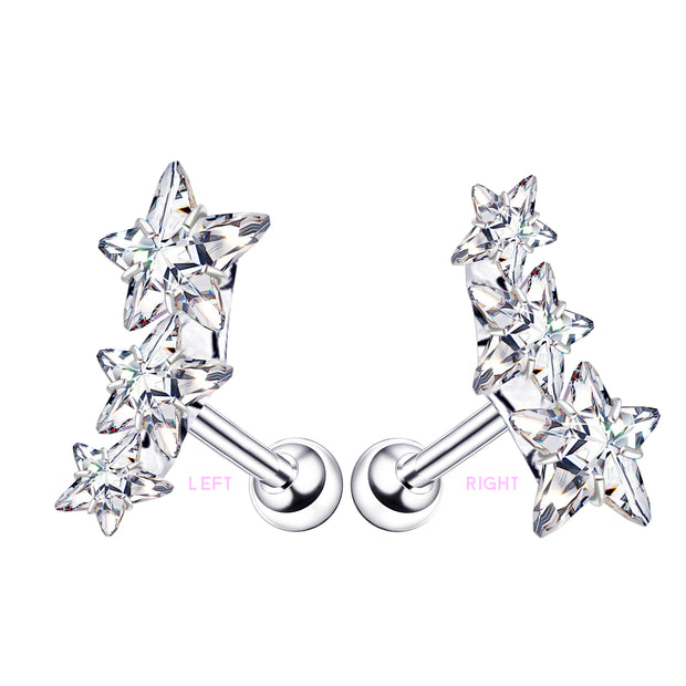 star helix stud clear star cartilage studs large conch piercings
