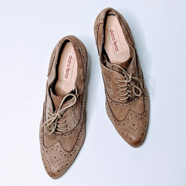 Brogue (Oxford) Lace-Up 'Vintage' Ankle Boots, Wooden Heel