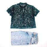 Forever 21 Deep Sea Green Lace Top
