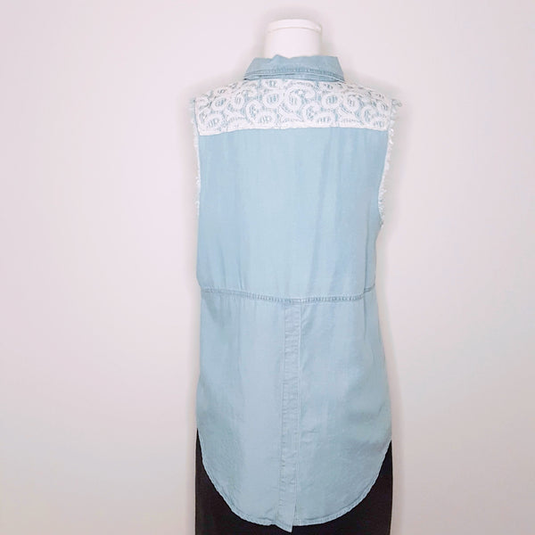 Blue 'Denim' & Lace Sleeveless Shirt