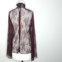 Plum Witchery Lace Flare Sleeve Top