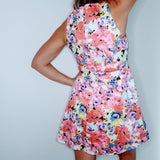 Painted Look Floral Print Cutout Dress