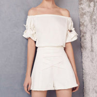ALEXIS Weston Off Shoulder White Bow Sleeve Top