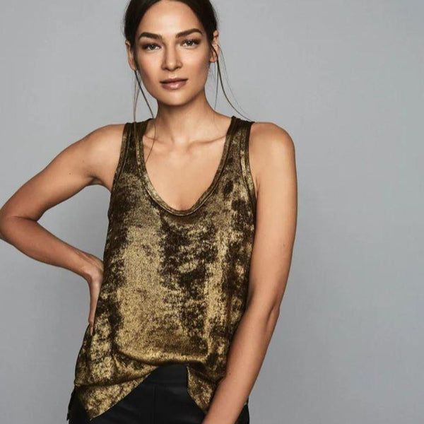 Reiss Gold Metallic Top