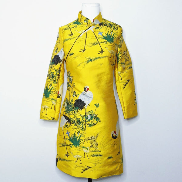 'With the Birds' Oriental Mini Dress
