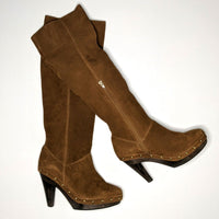 Suede Boho-Chic Studded Boots Brown Tan Heel